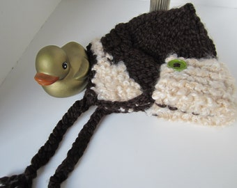 Chocolate Brown and Tan Bulky Newborn Flight Hat with Ear Flaps