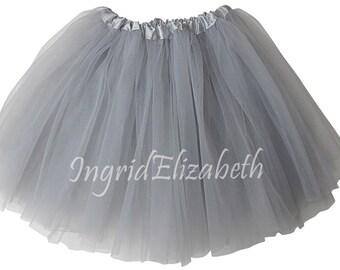 "Silver XL Adult 3-Layer Tutu SALE / Waist Stretch 18-36"" / 17"" Length / Skirt Style"