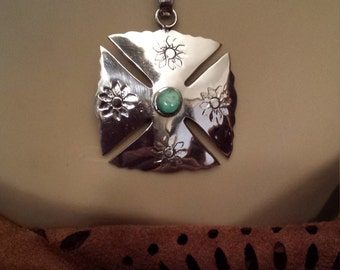 Sterling silver native American turquoise pendant with sterling chain