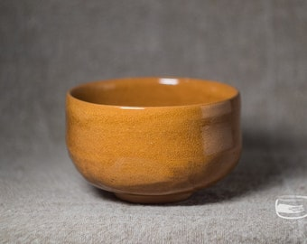 Chawan matcha bowl for Japanese tea ceremony with caramel glaze - vintage handmade *0917