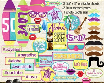 Photo Booth Props, HAWAIIAN LUAU 50th ANNIVERSARY, party, selfie station, printable, instant download