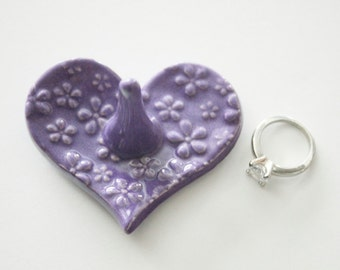 Heart Shaped Ring Holder, Ring Dish, Ring Bowl, light purple, Ready to ship