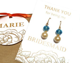 Pearl bridesmaid earrings. Crystal and pearl earrings. Wedding earrings. Bridal earrings. Bridesmaid gifts. Bridesmaid jewelry. Gift for her
