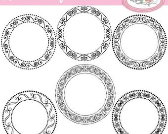 50%OFF Hand drawn digital frames clipart, vector frames clip art for card making, scrapbooking and graphic design commercial use, F260