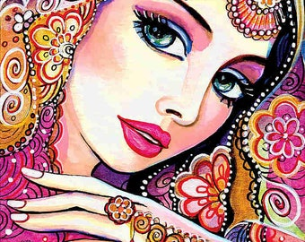indian bride art beautiful Indian woman painting Indian decor bollywood affordable art gifts, feminine decor, beauty painting print 8x12+