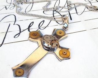 Large Gothic Steampunk Cross Pendant Necklace  -Watch Part Vintage Necklaces-
