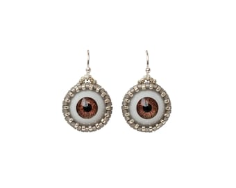 Tiny beaded earrings with eyes - Japanese seed bead weaving - Curios and weird