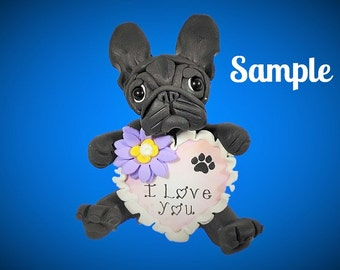 Black French Bulldog I LOVE YOU heart sculpture Polymer Clay dog art by Sally's Bits of Clay