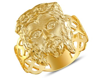 14k solid gold Jesus head ring. Religious ring.