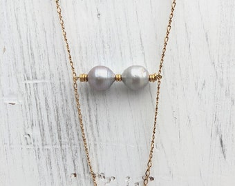 14kt Gold Filled Necklace With Two Large Silver Fresh Water Pearls