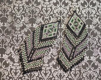 Fringe Earrings, Seed Bead Earrings,  Beaded Jewelry, Beaded Earrings, Native American Beaded Earrings, Seed Bead Jewelry, Long Earrings