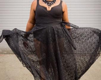 """Lace Plus Size Maxi Skirt plus size High Waist / plus size  2 - 24 ) 44"""" L"""