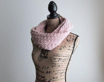 Crochet Infinity Scarf - Stonewash Pink Infinity Scarf - Cotton Knit Scarf - Handmade Soft Circle Scarf