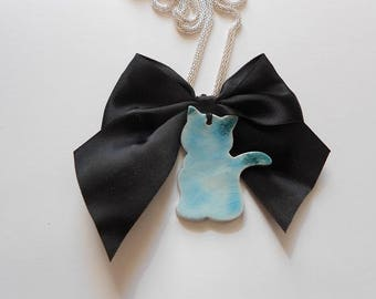 Long necklace, silver color, cat, ceramics, turquoise, black flake, for her, girlfriends gift