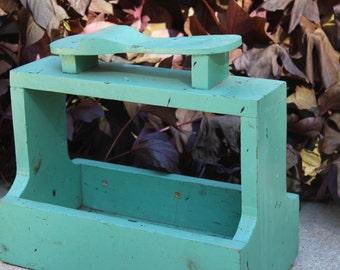 Vintage Shoe Shine Kit Chippy Wooden Box Repair Kit Portable Shoe Shine Kit Turquoise Aqua Green