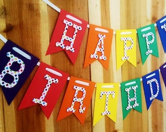 Multi-Color Polka Dots Happy Birthday Banner, High Chair Banner, One  Banner