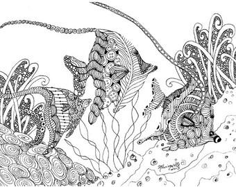 Adult Coloring Pages Printable DIY Zendoodle Zentangle 8.5 x 11 pdf Moorish Idols Tropical Fish doodle black white zentangle inspired art