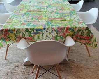 Floral Tablecloth, Vintage Tablecloth, Cloth Tablecloth, cottage table cover,  flower table setting, retro flower