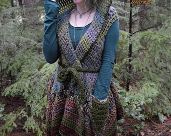 Woodland Pixie Coat - Hooded Vest - Arbor Witch - OOAK - READY to SHIP