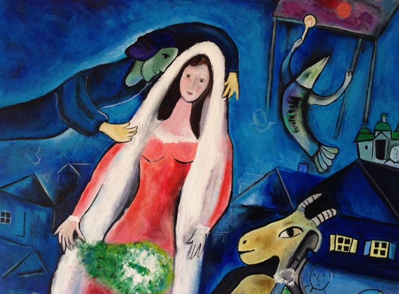 Hand Painted Marc Chagall La Mariee The Bride