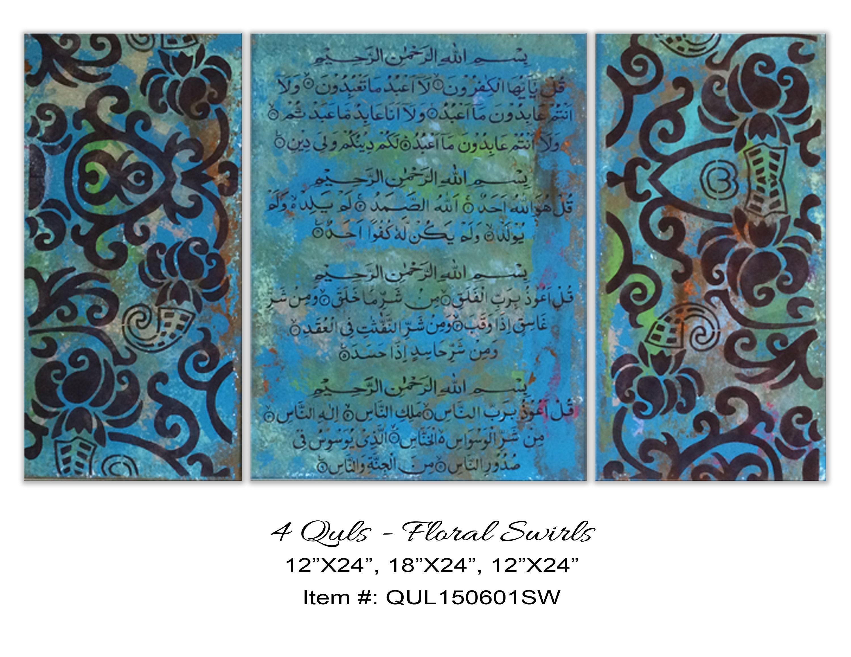 Hand Painted Islamic Calligraphy 4 Quls. Islamic wall art
