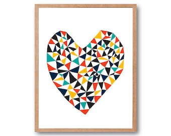 Geometric Love, Heart Art Print, Animal Illustration, Drawing, Illustration, Children Room, Kids room art, Nursery room Art, home decor