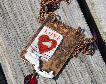 Love Stamp Etched Copper Necklace