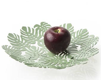 Fruit bowl Round metal Leaves Sage 29X29X 4.5 cm