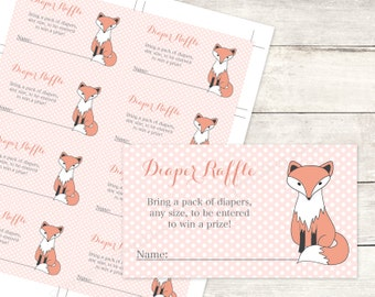 diaper raffle tickets printable fox baby girl shower DIY pink grey polka dots woodland fox cute baby digital shower games - INSTANT DOWNLOAD