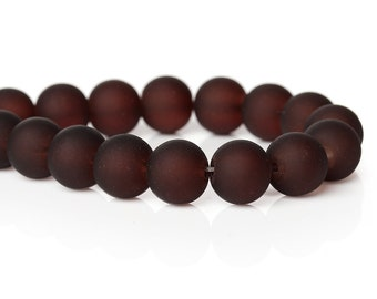 50 Frosted Glass Beads 11mm Rich Chocolate Brown - BD670