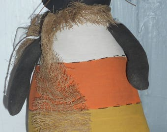 Primitive Halloween Candy Corn Cat Wall Hanging