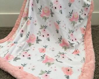 Floral designer Minky baby blanket girl