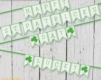 St. Patrick's Day Green Dots and Chevron - Banner Printable