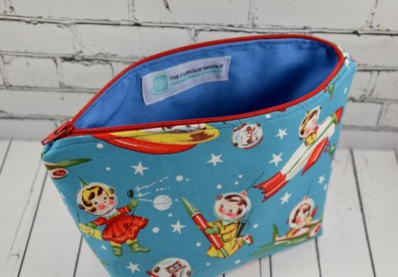 Retro Space Kids Makeup Bag Vintage Theme Fabric Kitsch 1950s Gift