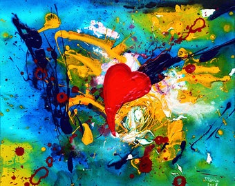 Abstract painting, original painting on canvas, colorful abstract acrylic painting on canvas, colorful wall art, heart painting, 20x24