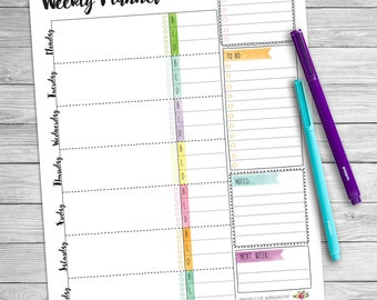 Weekly Planner Printable, Watercolor, Digital Download, Weekly calendar, Weekly agenda, Weekly organizer, Weekly desk planner, letter size
