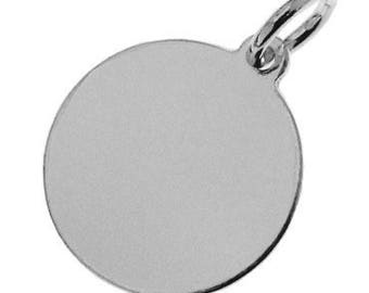 Sterling Silver 12mm Disc Charm Pendant For Engraving PK1 PK5