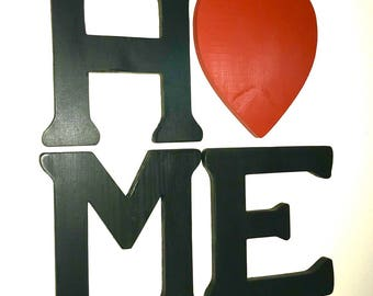 Home Letters With Heart As O, Home Letter Sign, Farmhouse Home Sign, Home