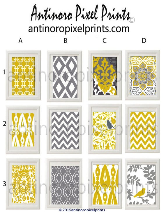 Wall Art Yellow Grey Ikat Damask Modern Inspired Pictures