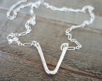 V Sterling Silver Necklace, Minimalist Necklace, Everyday Necklace, Silver Necklace