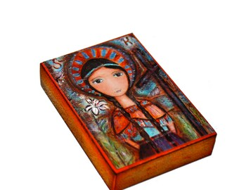 Saint Kateri - Aceo Giclee print mounted on Wood (2.5 x 3.5 inches) Folk Art  by FLOR LARIOS