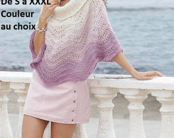 Poncho woman alpaca and silk lace, knitted hand, wedding, mother's day gift, anniversary, heater shoulders, shawl, bolero, stole, cape