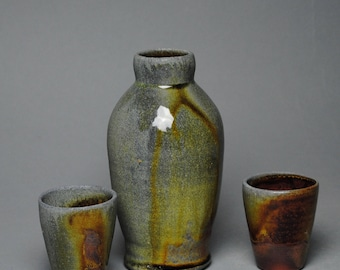Sake Whiskey Set Wood Fired with Two Cups 50