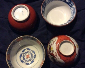 SAVE 25% WITH CODE: SAVE25 Lot/4 Small Porcelain Japanese Patterned & Design Soup Bowls
