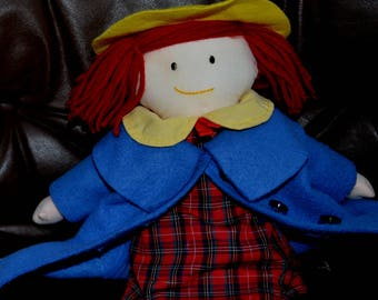 """MADELINE VINTAGE 1994..by EDEN..15 1/2"""" tall..Removable Red Tartan Dress, Blue Coat & Panties.Red Yarn Hair Yellow Hat. Excellent Condition!"""