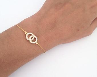 Circle bracelet, Eternity bracelet Gold double circle bracelet, Interlocking circles, Best friend gift, Mother daughter, Infinity circle