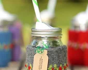 Pint size Felted wool mason jar cozy set dark gray red flowers pint size