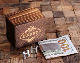 """Initial """" H """" Personalized Men's Classic Cuff Link & Money Clip with Wood Box Monogrammed Engraved Groomsmen, Best Man, Father's Day Gift"""