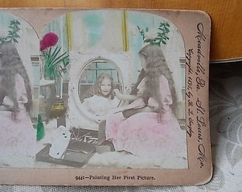 Antique 1898 Photo Hand Colored Stereoview Girl Artist Painting