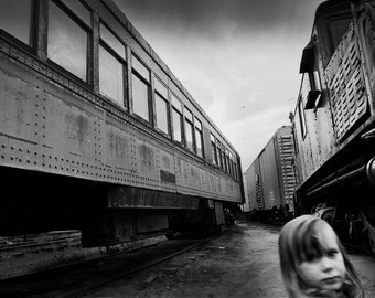 "Train Girl Black and White Photograph - 16X20"" Fine Art Photo - Grant Brittain Photo"